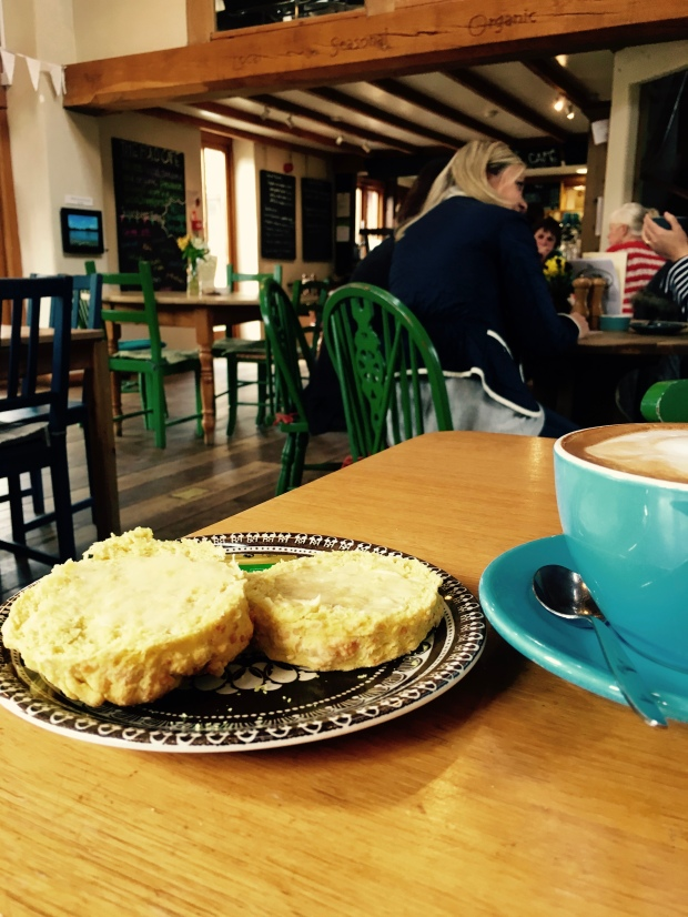 A scone and coffee