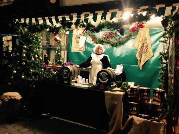 Mulled wine seller at Worcester Christmas Fayre
