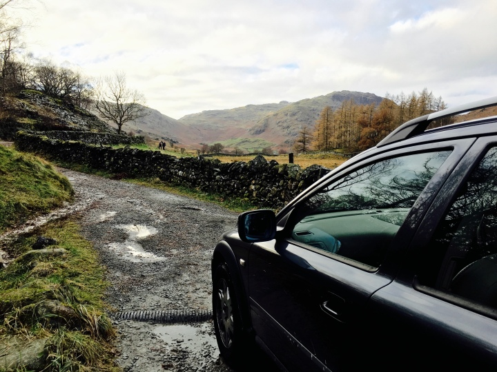 Bjorn the Volvo on a narrow road in the Lake District, Cumbria