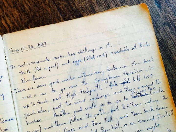 Old visitor's book at National Trust property Low Hallgarth