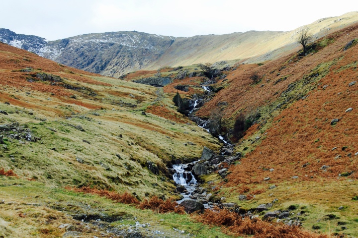 Waterfall on Birk Fell in Lake District National Park