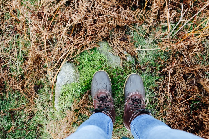 Bean Boots on a mossy, hill fell in the Lake District