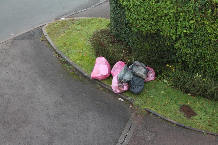 Bags of garbage waiting by the kerb for collection