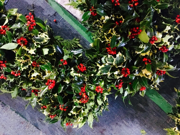 Wreaths of live holly