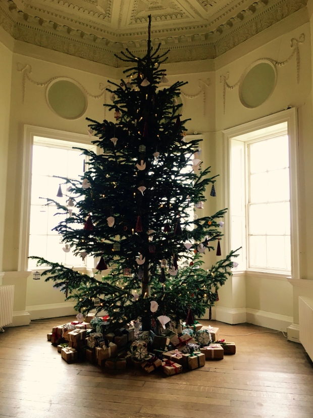 Christmas tree in National Trust property, Croome Court in Worcestershire.