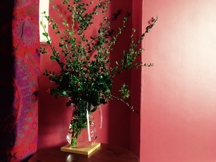 Vase of holly and cotoneaster horizontalis against a red wall