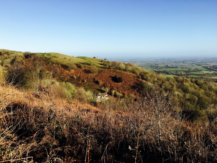 Pink Cottage, nestled into the eastern slopes of the Malvern Hills.