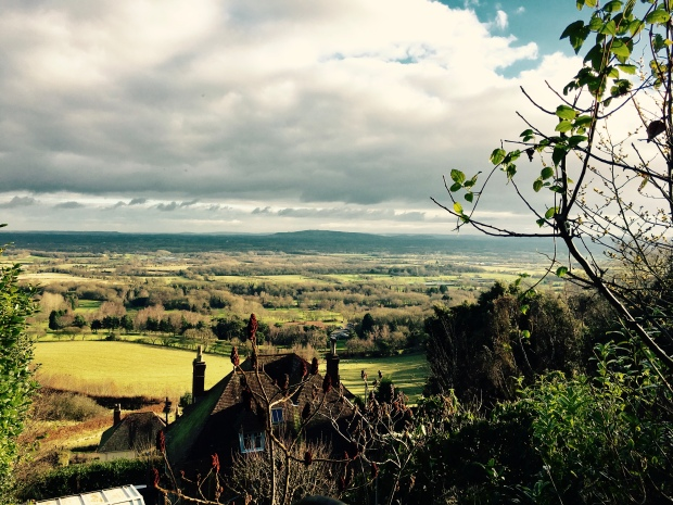 Looking from the Malvern Hills towards the Cotswold Hills.