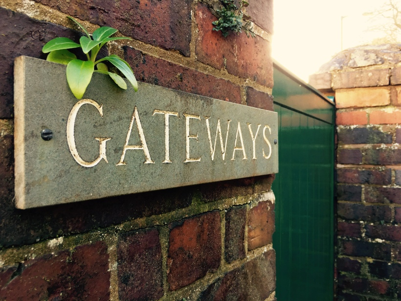 'Gateways' sign at the front of an English house
