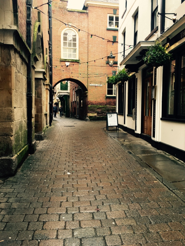 The narrow streets in the centre of Ludlow, Shropshire.