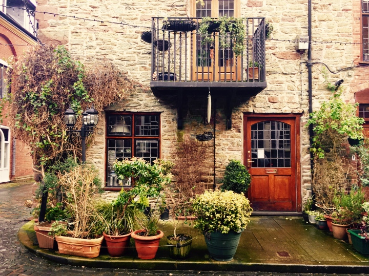 Stone cottage adorned with ivy, with collection of pot plants at its front in Ludlow, Shropshire