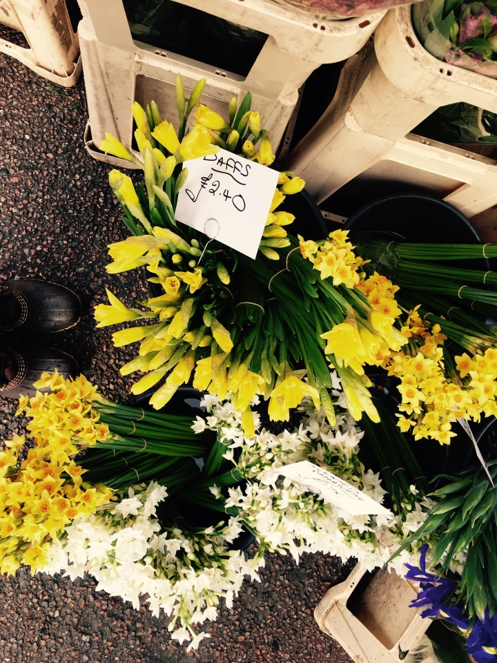 Daffodils and jonquils sitting in buckets of water at a flower stand at a farmer's market in Ludlow, Shropshire