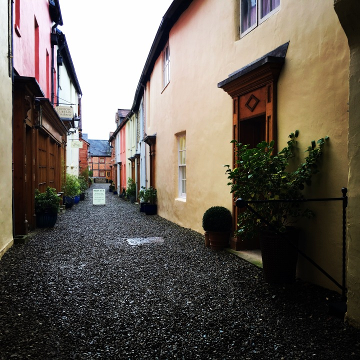 A private laneway filled with rainbow coloured cottages in Ludlow, Shropshire