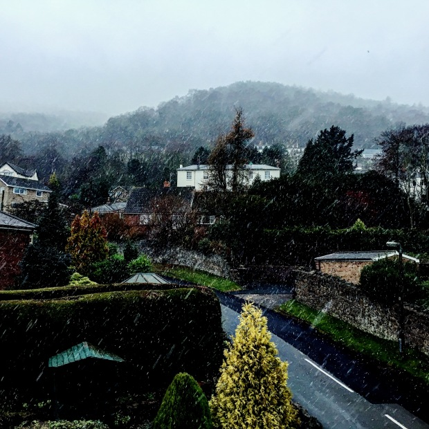 Snow falling in Malvern, Worcestershire