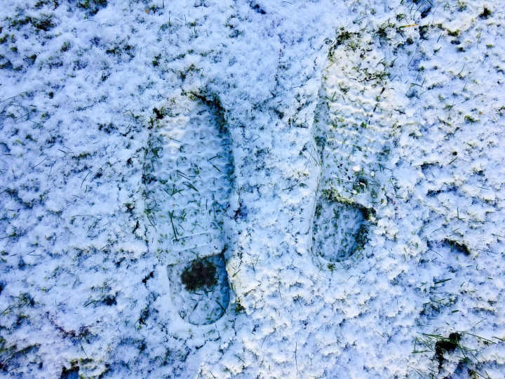The imprint of LL Bean Boots in the snowy ground.