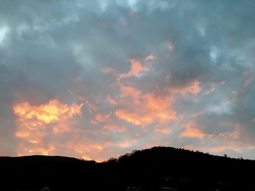Sunset over the Malvern Hills, Worcestershire.