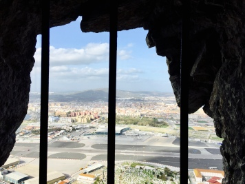 Looking over the Gibraltar Airport from the Great Siege Tunnels.