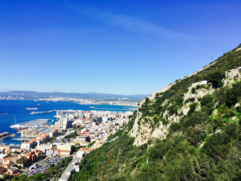 Looking towards the city of Gibraltar from the Upper Rock Nature Reserve.