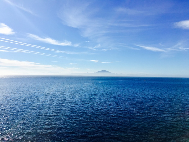 Looking over the Strait of Gibraltar towards Morocco's Atlas Mountains.