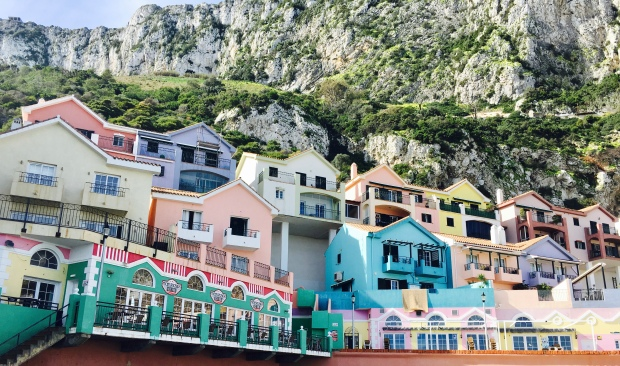 Colourful houses line the shores of Catalan Bay in Gibraltar.