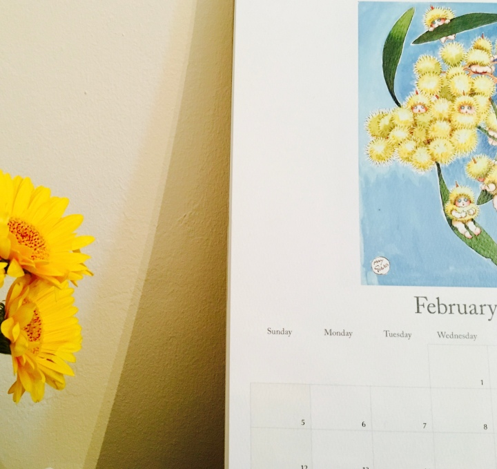 A May Gibbs calendar and yellow gerbera flowers.