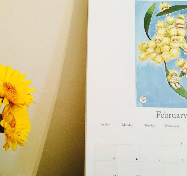 A May Gibbs calendar and yellow gerbera flowers.