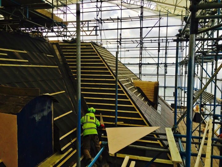 Roof restoration project at National Trust property, Tredegar House, in Wales.