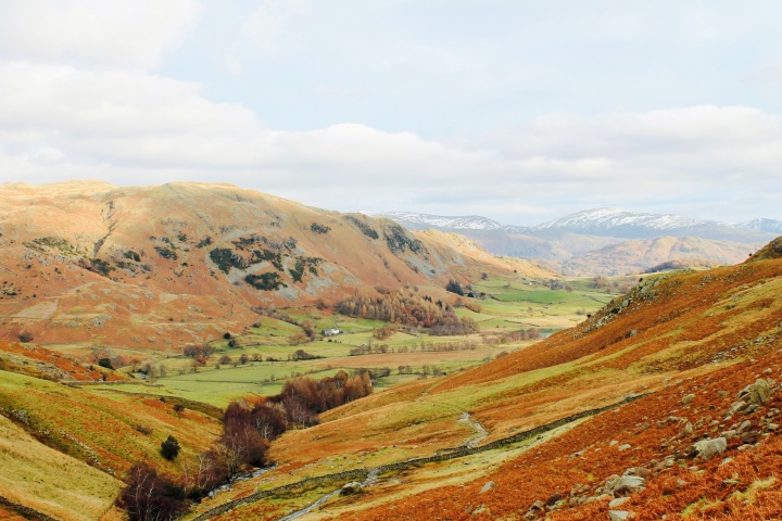 Looking down the Langdale Valley in Cumbria, England.
