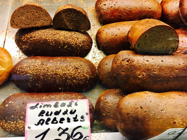Rye bread for sale at the Riga Food Market in Latvia.