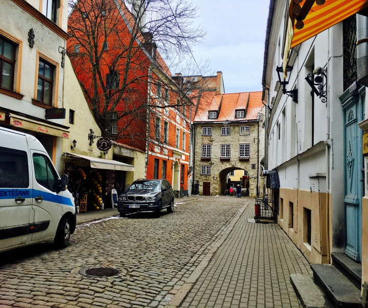 Cobbled street leading up to Swedish Gate in the Latvian capital Riga's Old Town.
