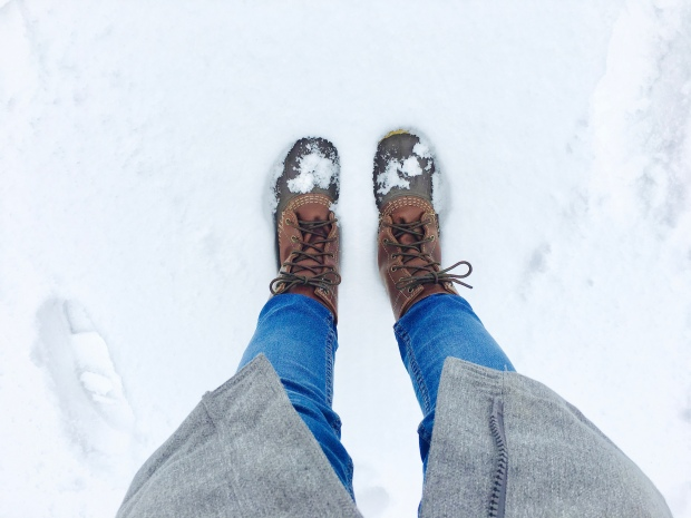 Bean boots in snow.