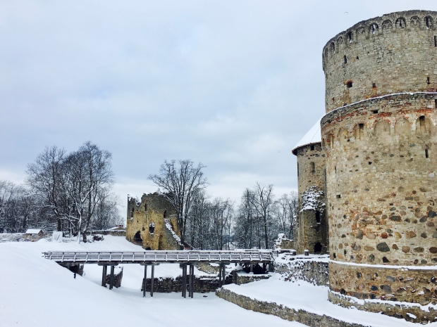 Old Cesis Castle in the snow in Latvia.