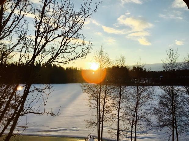 Sunrise in snowy Raiskums, Latvia.