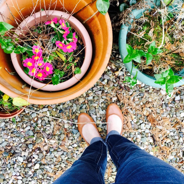 Woman in ballet flats and jeans stands near pink flowers growing in a pot.