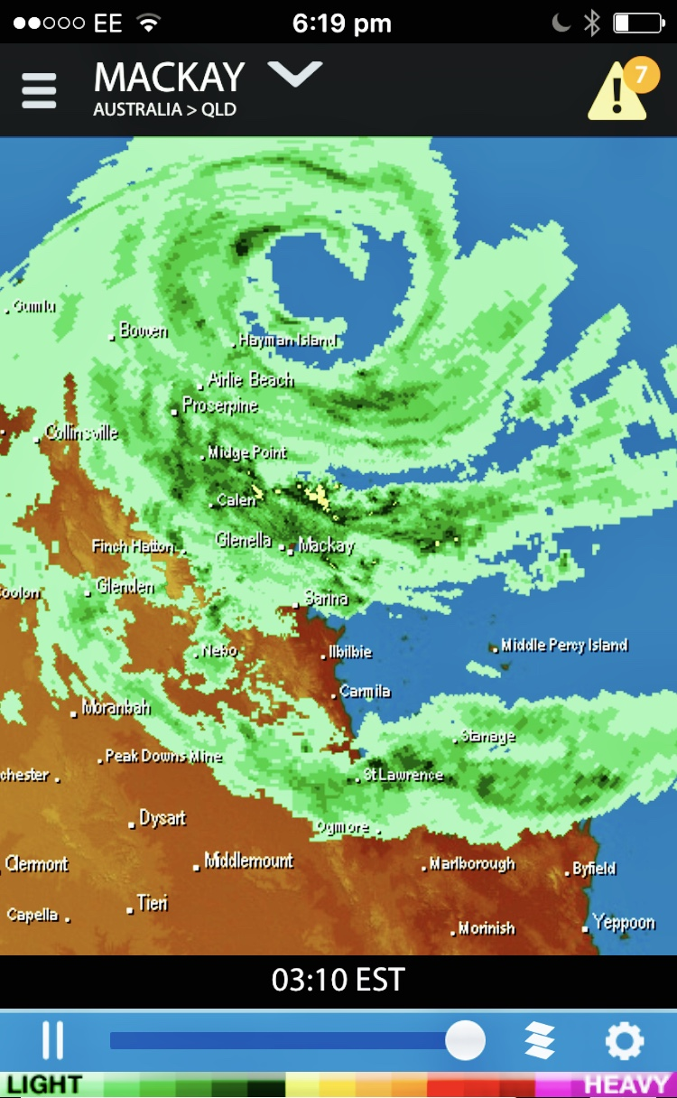 Mobile phone screen shot of weather radar showing Cyclone Debbie hovering off the Queensland Coast.