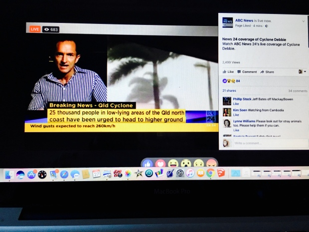 Screen shot of ABC News 24 Facebook Live coverage of Cyclone Debbie
