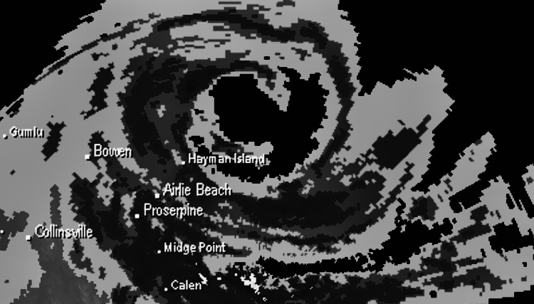 Radar image of Cyclone Debbie.