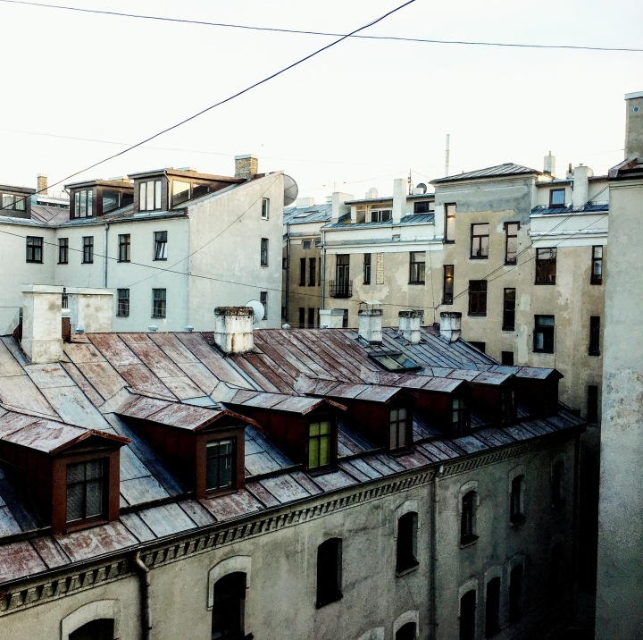 View of rooftops from apartment in central Riga, Latvia.