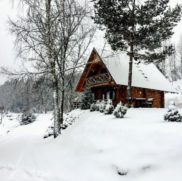 Log cabin in snow in Raiskums, Latvia.