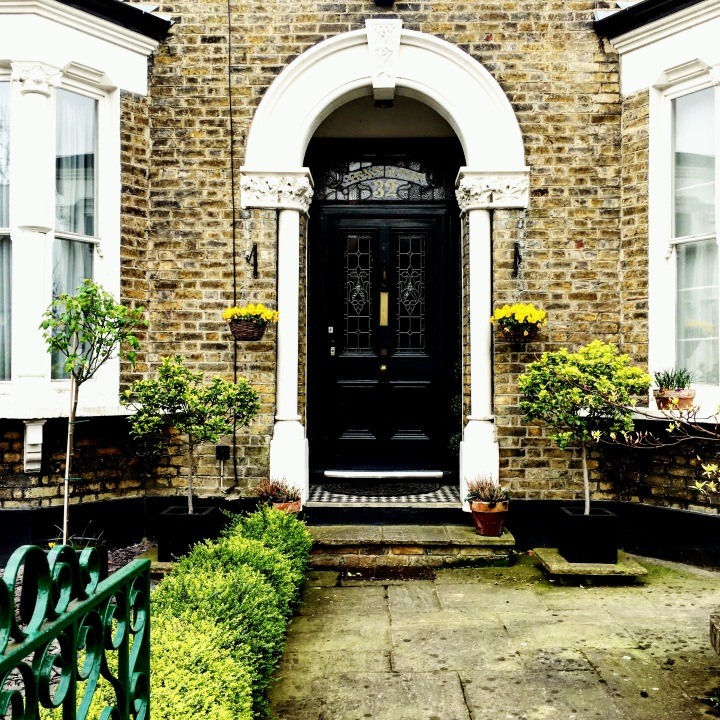 Front door to house in Islington, London.