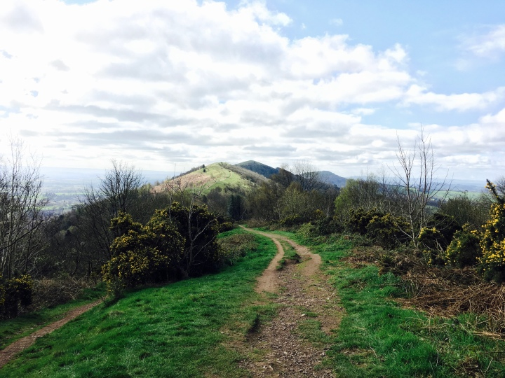 Walking along the Malvern Hills in Worcestershire, England.