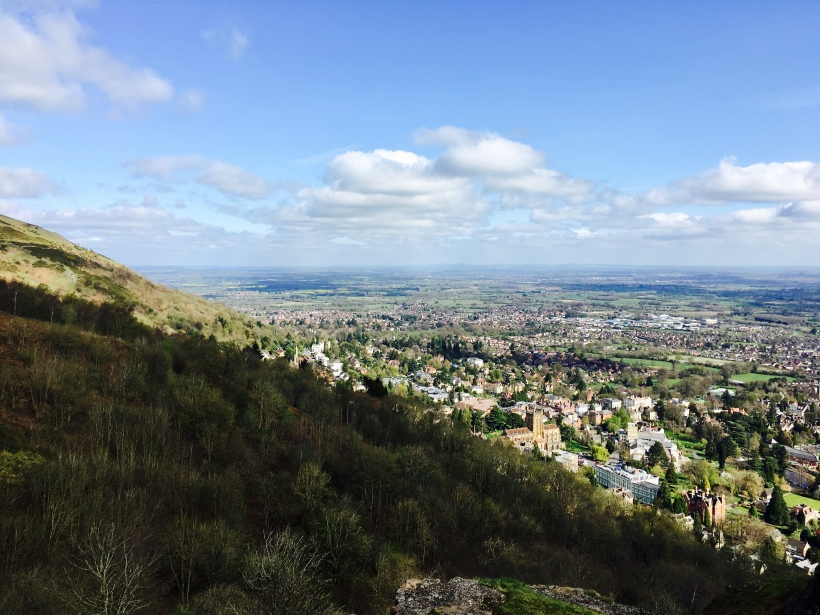Looking down on Great Malvern from the Malvern Hills.