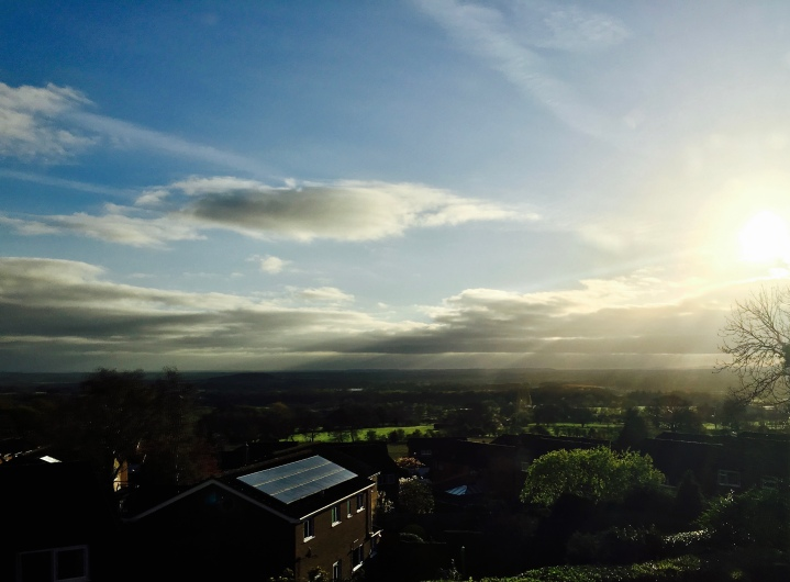 Sunrise over the Severn Valley from Malvern Wells.