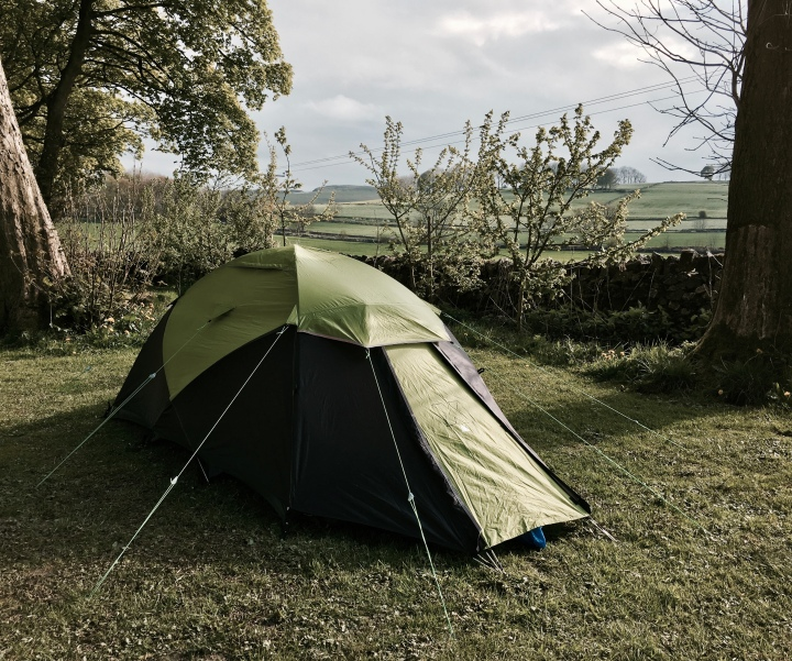 Tent set up in a field near Buxton, Derbyshire.