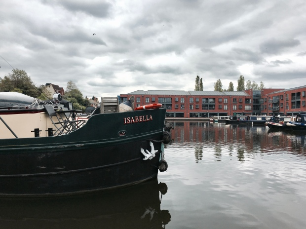 Canal boats docked in Diglis Marina, Worcester, Worcestershire, England.