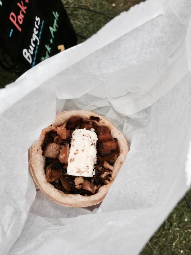 Open top Moroccan lamb pie in paper bag