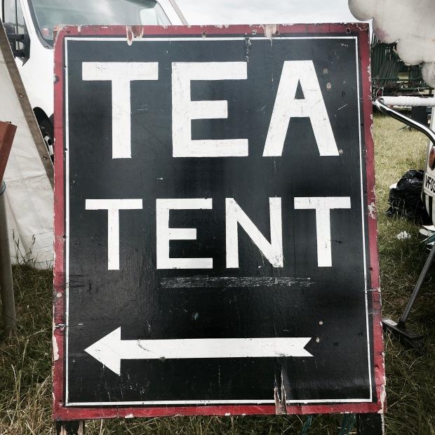 Tea tent sign at Asparafest, Evesham, Worcestershire.