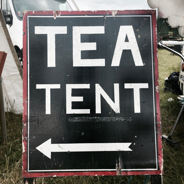 Tea tent sign at Asparafest, Evesham, Worcestershire.