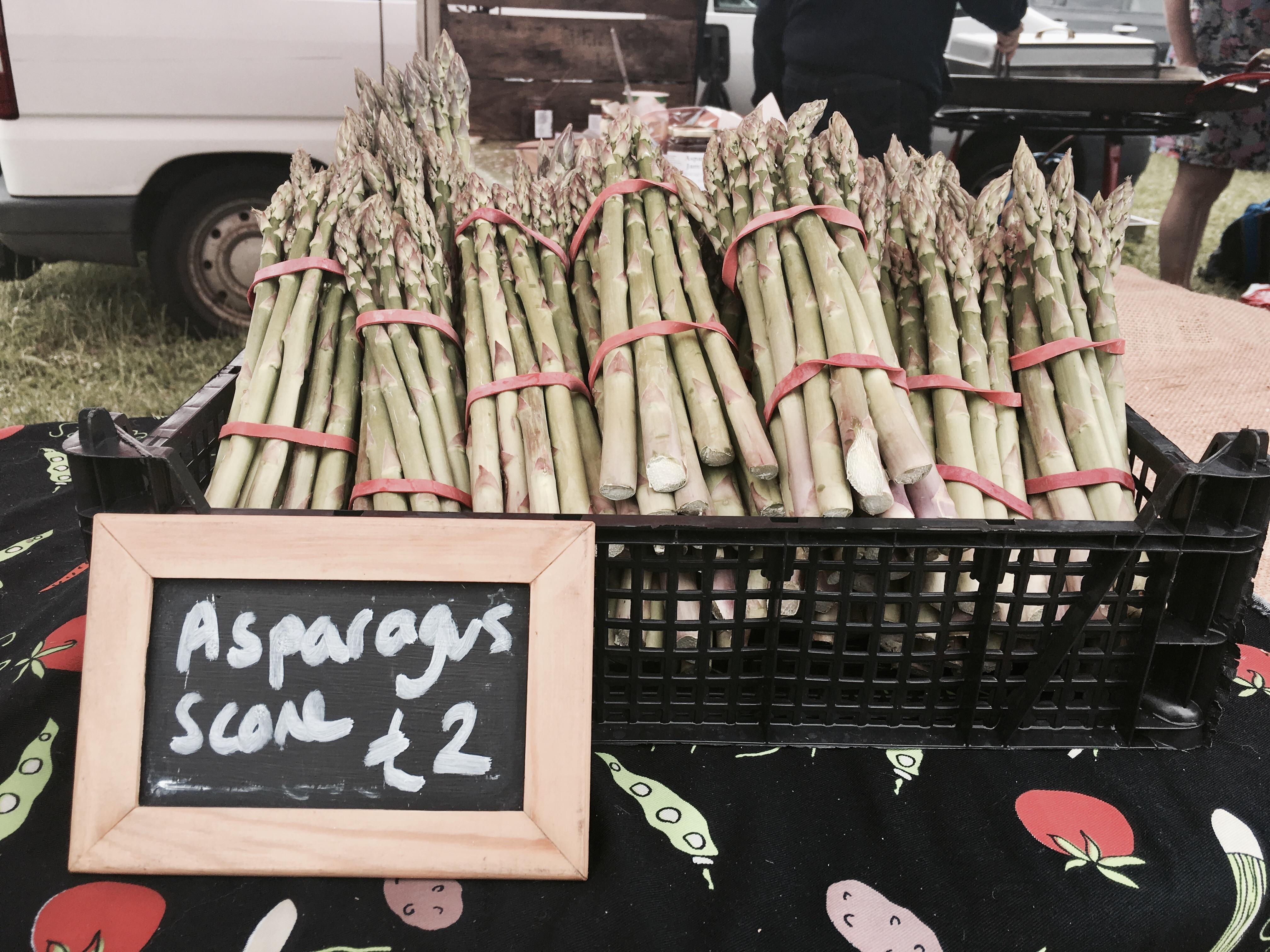 Asparagus for sale at Asparafest, Evesham, Worcestershire.