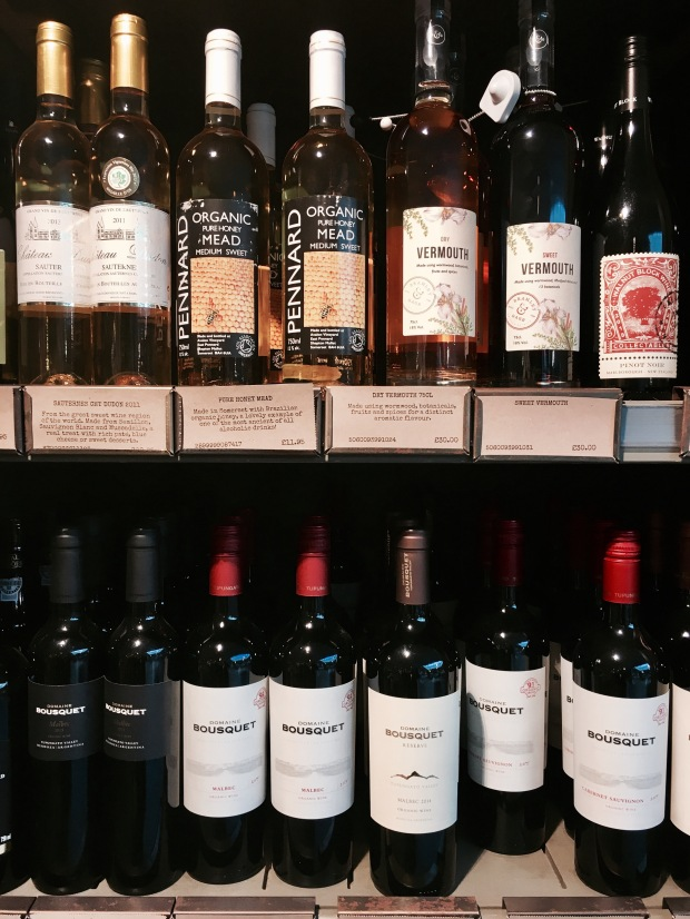 Wine on sale at Tebay Services, Cumbria, England.